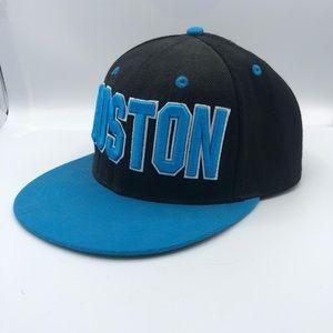 Boston Black and Blue Flat Cap Snap Cap Button Hat